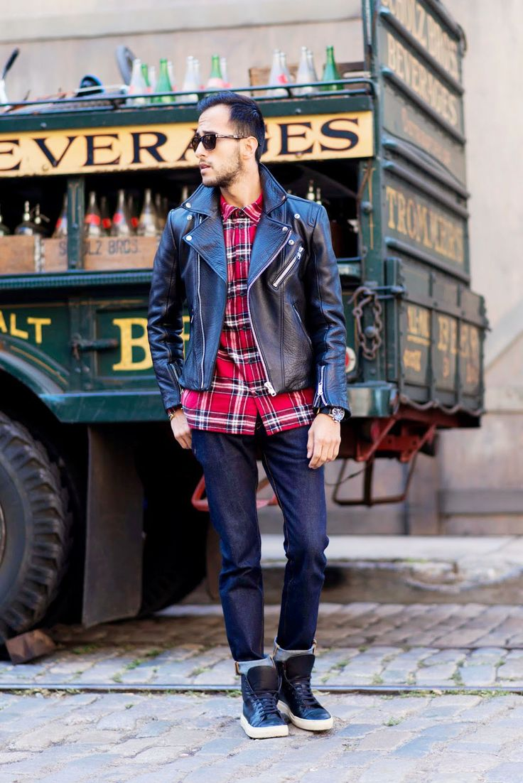 mens-outfit-jeans-color-shirt-and-leather-jacket